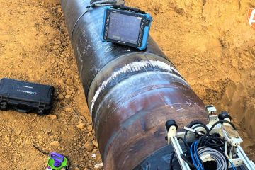 Arise Global performing Phased Array Ultrasonic Testing on a pipeline